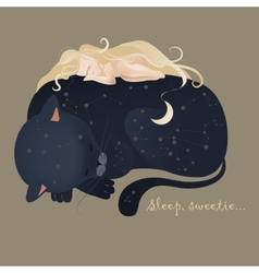 Girl sleeping with cat vector