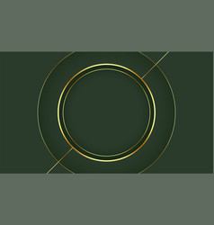 Golden circle frame on green background design vector