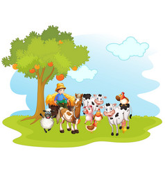 group domestic animals in a farm isolated vector image