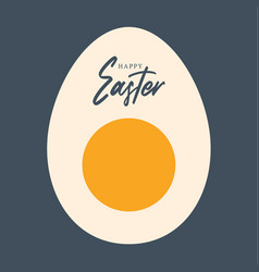happy easter sliced egg greeting card with vector image