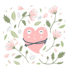 Heart love hug and flowers vector
