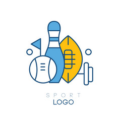 hobby logo template with sports equipment bowling vector image
