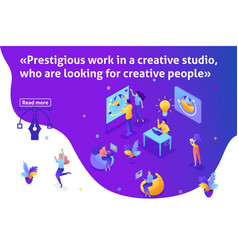 Isometric article banner creative studio vector