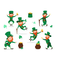 leprechaun collection for saint patrick day vector image