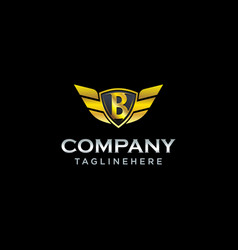 Letter b shield with wings gold color logo design vector