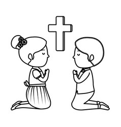 Little kids kneeling with cross first communion vector