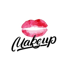 Makeup hand written lettering logo label emblem vector image