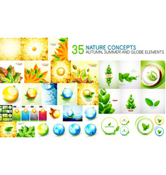 mega collection of nature leaves - autumn and vector image