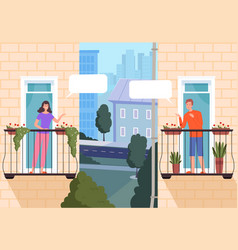 neighbourhood houses friends looking out of vector image