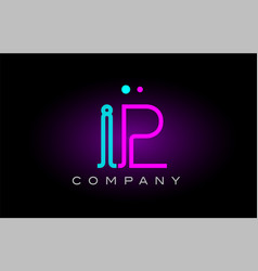Neon lights alphabet ip i p letter logo icon vector