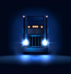 Night large classic big rig semi truck headlights vector