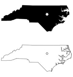 north carolina nc state map usa with capital city vector image
