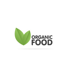 organic food eco green leaf label sticker vector image