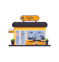 outdoor scene with coffee shop storefront facade vector image