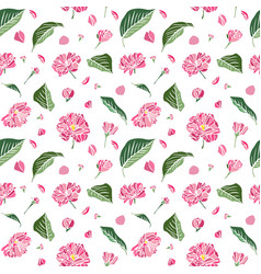 Pink sakura flowers and green leaflets seamless vector