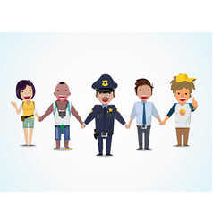 police and people are holding hand vector image