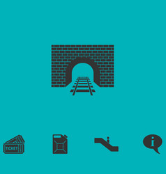 Railway tunnel icon flat vector