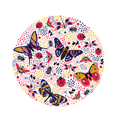Round composition with butterfly and bug vector