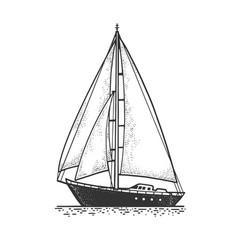 Sailing yacht boat sketch vector