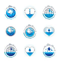 sea wave splash logotype world water day theme vector image