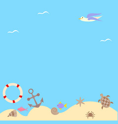 Seascape with an anchor and a seagull vector