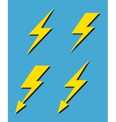 Set of yellow lightnings background vector image