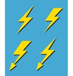 set yellow lightnings background vector image