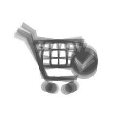 shopping cart with check mark sign gray vector image