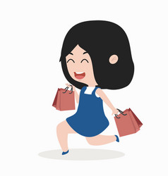 shopping girl holding bag vector image