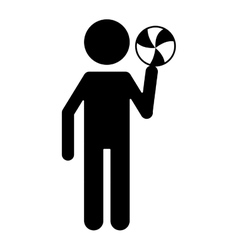 silhouette character player volleyball and ball vector image