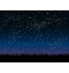 Silhouette grass Starry Sky Eps 10 vector