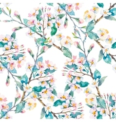 Spring patternFlowering branches Watercolor vector image