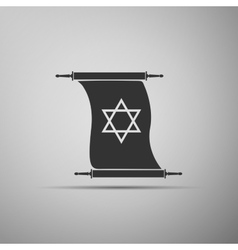 Star of David on scroll icon into grey background vector image vector image