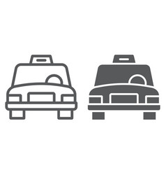 taxi line and glyph icon traffic and car cab vector image