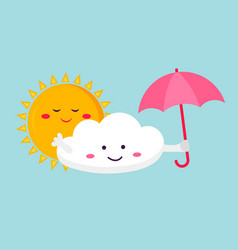 The funny cloud and sun vector