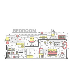 thin line art bedroom poster banner vector image