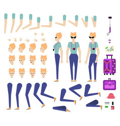 Travelling girl creation kit - set of different vector