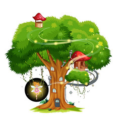Treehouse with fairy on white background vector