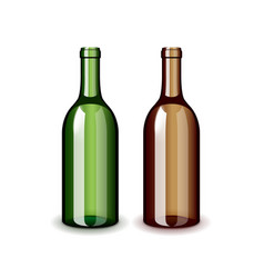 two classic wine bottles isolated on white vector image