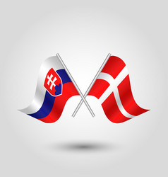Two crossed slovak and danish flags vector