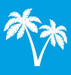 Two palms icon white vector