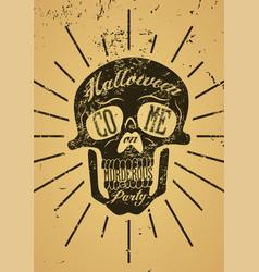 typographic retro grunge halloween party poster vector image