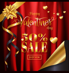 valentines day sale background red satin cloth vector image
