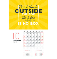 Wall calendar template for october 2018 design vector