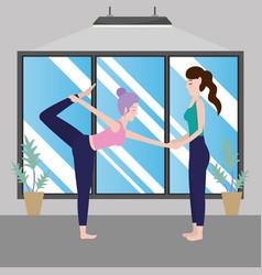 women and yoga vector image