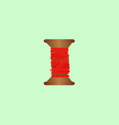 wooden coil with red thread vector image
