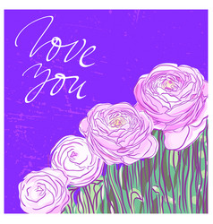 you are my soul lettering with pink flowers vector image