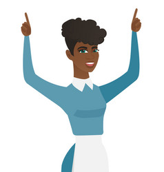 young african cleaner standing with raised arms up vector image