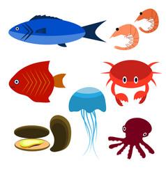big set of sea creatures vector image