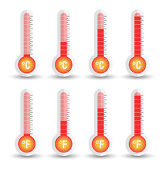 celsius and fahrenheit thermometers icon with vector image